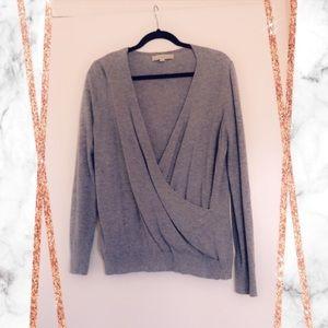 LOFT Grey Deep V Sweater